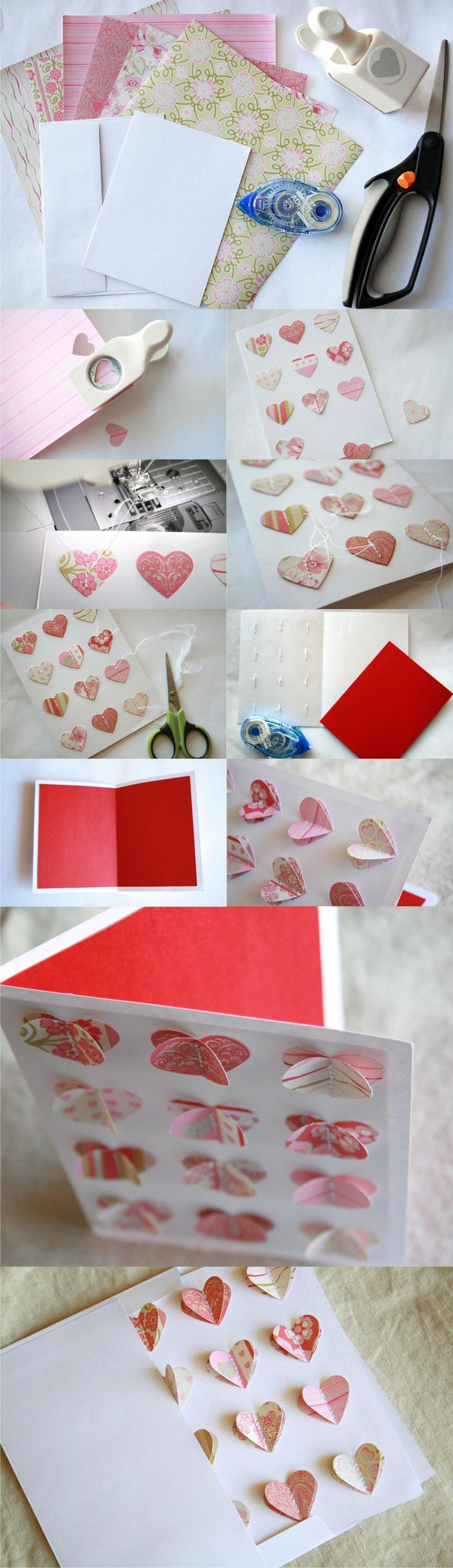 DIY 3D Heart Valentine Card - thecreativeplace.blogspot.com -Postal DIY para San Valentín