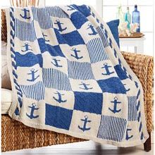 Lion Brand 174 Nautical Patchwork Blanket Knit Afghan Kit