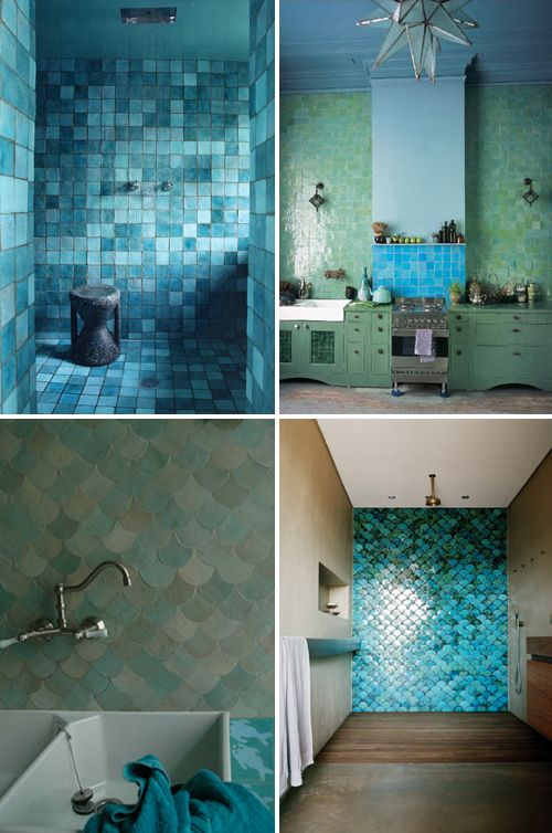 Lots of greeny-blue tile!  I love the kitchen, upper right.