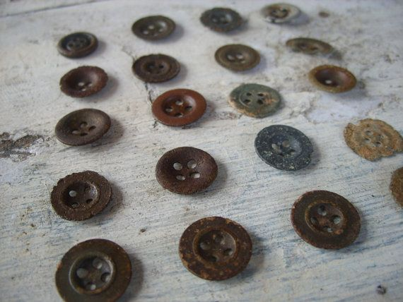 Antique metal buttons set black metal button by FromEuropeWithLove