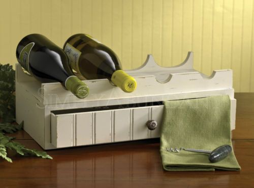 Southport Wine Rack with Drawer by Park Designs, Shabby-Chic Style with distressed cream finish, 16.25 Wide, holds 4 bottles.
