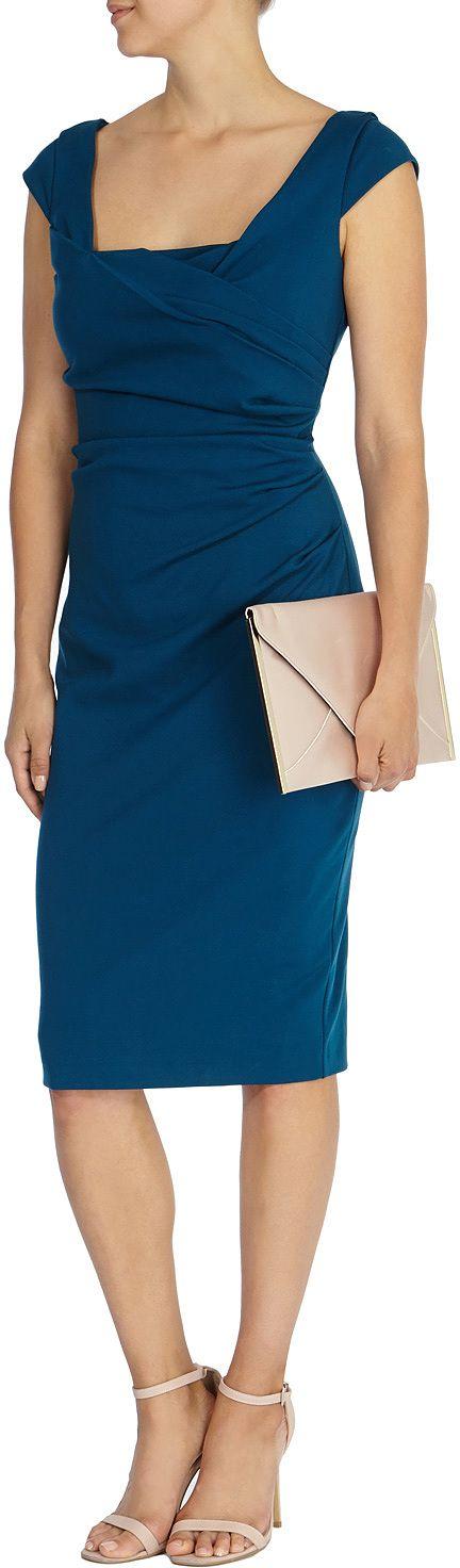 Womens petrol blue alva ponte dress from Coast - £39 at ClothingByColour.com