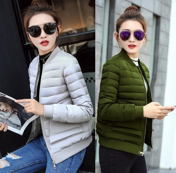 Women Winter Down Cotton Short Coat Hooded Baseball Jacket Ladies Parka