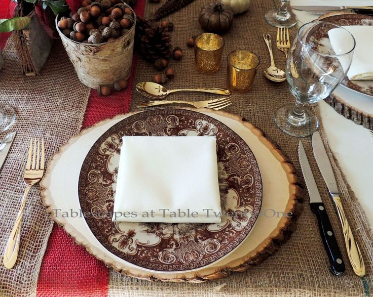 "Alycia Nichols, Tablescapes at Table Twenty-One, www.tabletwentyone.wordpress.com, ""Over the River & Through the Woods – Transitional Tablescape: Single place setting with wood slice charger, brown & ivory transferware dinner plate"