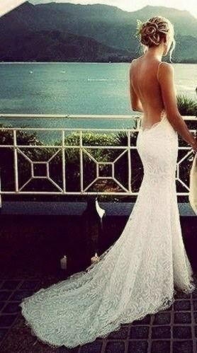 Beach Wedding. The dress, the hair, everything is perfect