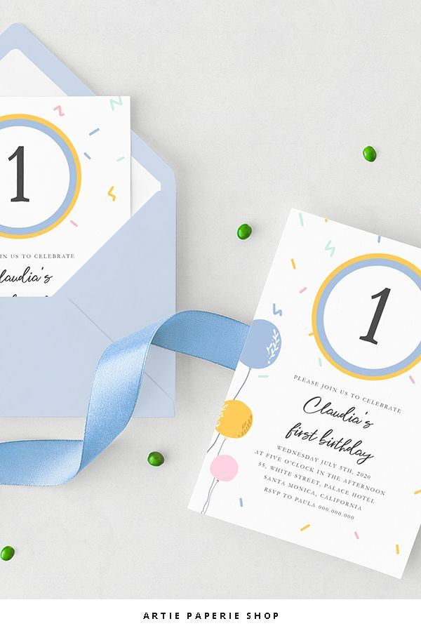 Invitation template blue and yellow balloons for birthday party. Template pdf editable with free program Adobe Acrobat Reader, all text editable, birthday invitation template, blue and yellow, print at home, custom invitation. #birthday #party #partyideas