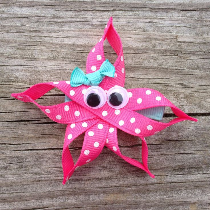Starfish Ribbon Sculpture Hair Clip - Toddler Hair Bows - Girls Hair Accessories... Free Shipping Promo. $4.00, via Etsy.