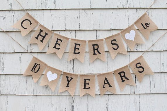 Cheers To 10 Years Banner 10th Wedding Anniversary 10th Etsy 10th Anniversary Decorations 20th Anniversary Decorations 60 Anniversary Decorations