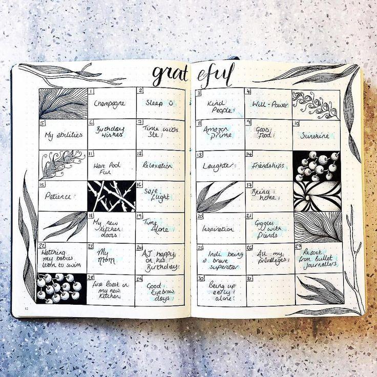 "Gefällt 1,360 Mal, 6 Kommentare - Planner Inspiration (@showmeyourplanner) auf Instagram: ""Beautiful #gratitudelog from @bujobug ・・・ My almost complete, bar one box, gratitude spread for…"""