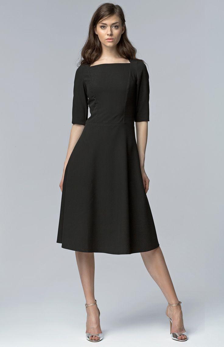Robe vas e petites manches noire les petites robes for Petite occasion habille les mariages