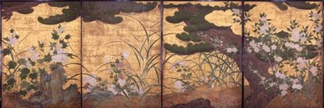 松に秋草図,長谷川等伯,16th century,Japan,国宝