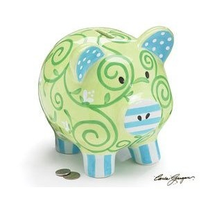 Large Precious Blessings Piggy Bank With Green And Blue Swirls and Stripes Adorable Baby Gift Item