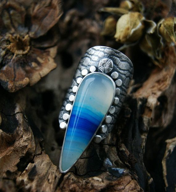 The Sea is Calling - Agate Sterling Silver Ring by Mercury Orchid