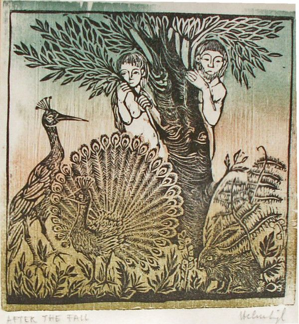 After the Fall  Helen Siegl  Color woodcut