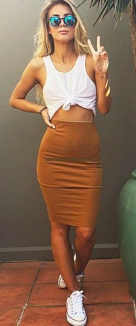 #summer #fashion / pencil skirt + tank top