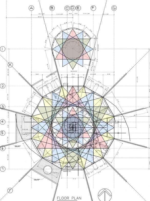 "Floor plan using Phi & Fibonacci by EarthLogeDesigns, ""The golden section is used [to] create proportion and scale. Fractals are used extensively for layout and dimensioning. The resultant sacred geometry has self similarity which is found everywhere in nature."""