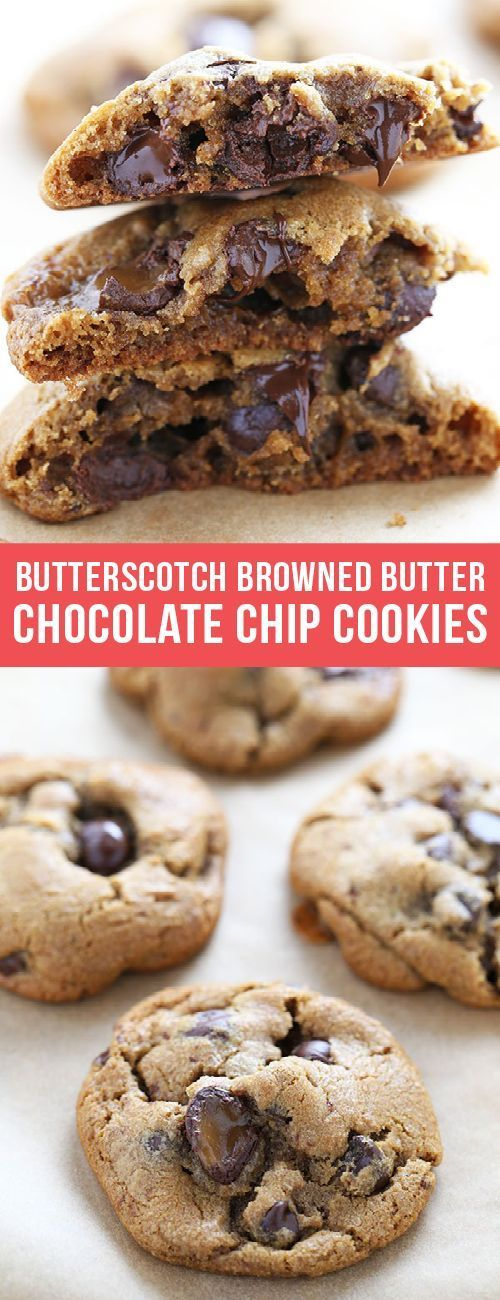 Butterscotch Browned Butter Chocolate Chip Cookies are ridiculously flavorful and chewy with crisp edges and an ooey gooey center. Keep scrolling to learn what the SECRET INGREDIENT is!  #butterscotch #brownedbutter #chocolate #chocolatechip #cookies #recipe #dessert #dessertrecipes #bakingrecipes #bestcookierecipes #chocolatechipcookies