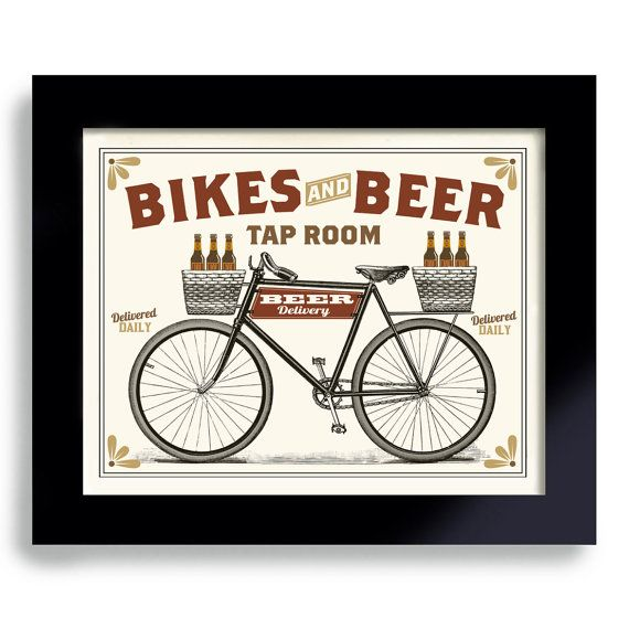 Bicycle Art Beer Sign Kitchen Art Pub Decor Beer Gift by DexMex, $18.00
