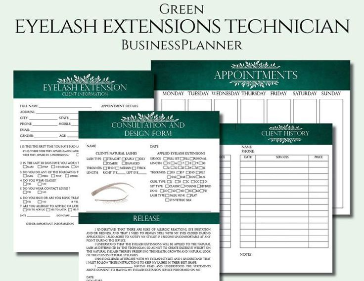 Green eyelash extension client forms printable client