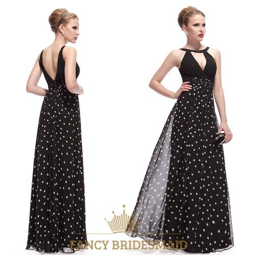 FancyBridesmaid.com Offers High Quality Black And White Polka Dot Dress Outfit,Black Halter Neck Maxi Dress,Priced At Only USD $102.00 (Free Shipping)