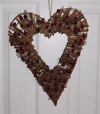 Primitive Twig Vine Berry Heart Door Wall Wreath Valentine's Day Wedding Decor