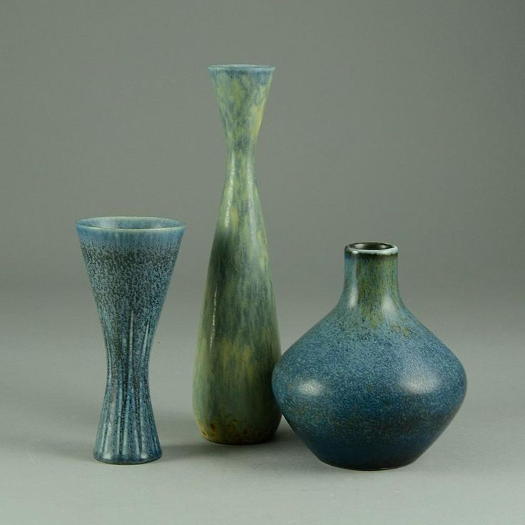 The vases with blue glaze by Carl Harry Stalhane