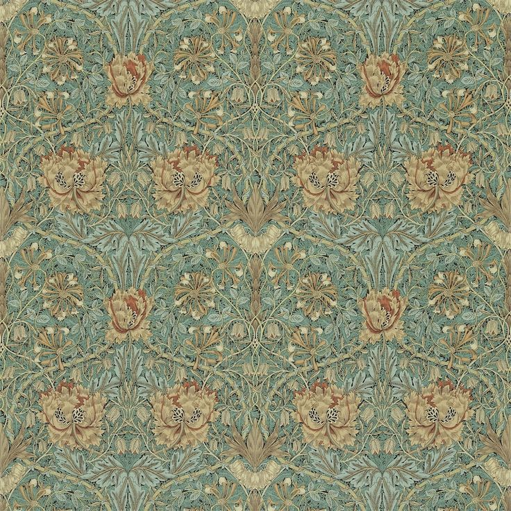 The Original Morris & Co - Arts and crafts, fabrics and wallpaper designs by William Morris & Company | Products | British/UK Fabrics and Wallpapers | Honeysuckle & Tulip (DMORHO202) | Morris IV Co-ordinates