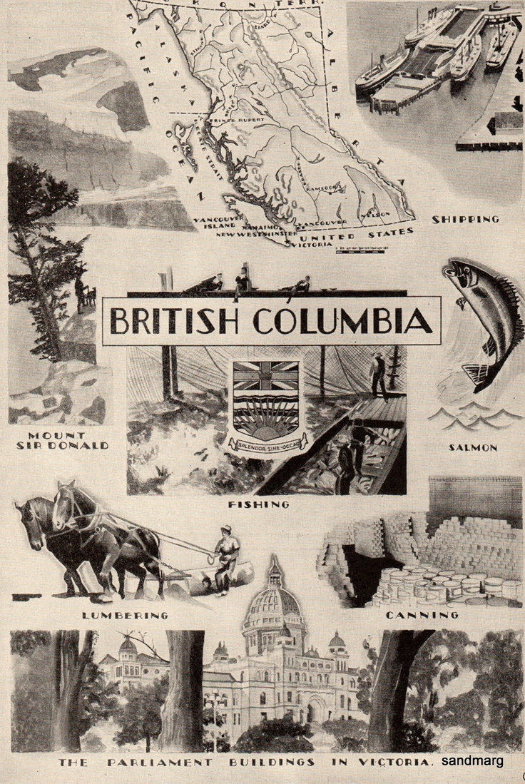 Vintage 1928 British Columbia Map and Illustration of Industry Agriculture