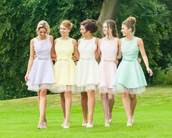 2016 Summer Short Bridesmaid Dresses Jewel Neck Knee Length Custom Made Yellow Mint Pink Lilac White Maid Of Honor Gown For Garden Wedding Wedding Dresses Bridesmaid Dresses Bridesmaid Dresses Gowns From Whiteone, $80.17| Dhgate.Com