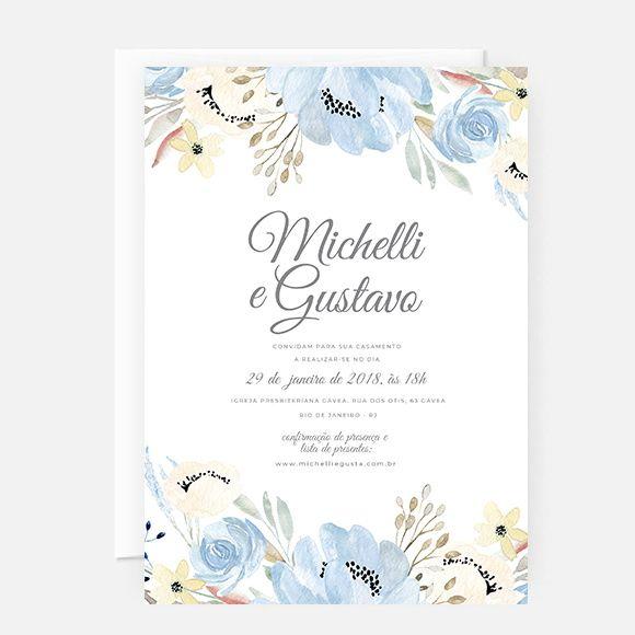 Convite Casamento Azul Arte Digital P Imprimir Com Imagens