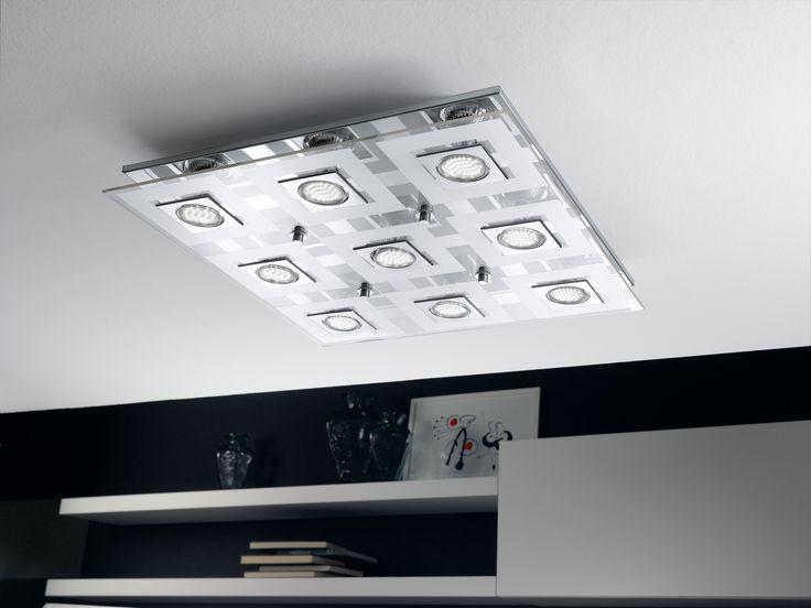 Eglo Lighting / Cabo / LED Polished Chrome Nine Lamp Flush Ceiling Light