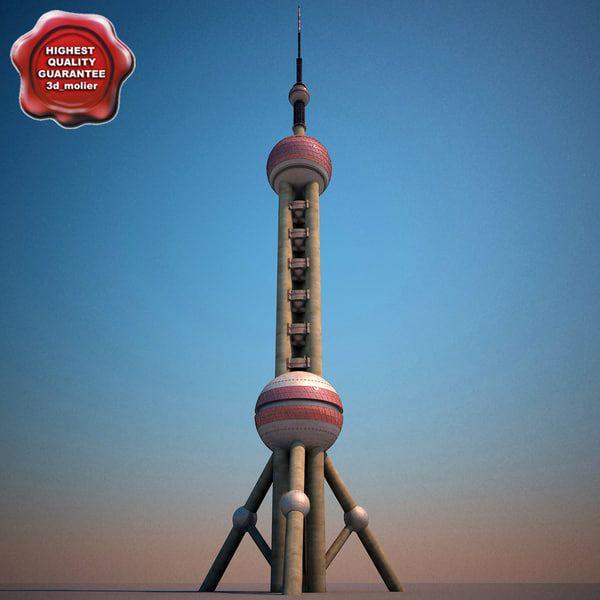 3Dsmax Oriental Pearl Tv Tower - 3D Model
