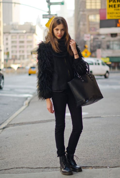 I LOVE FUR COATS Street Chic New York What Enhance a monochrome look with  mega,volume outerwear. Wear Zara coat, J Brand jeans, Dr.