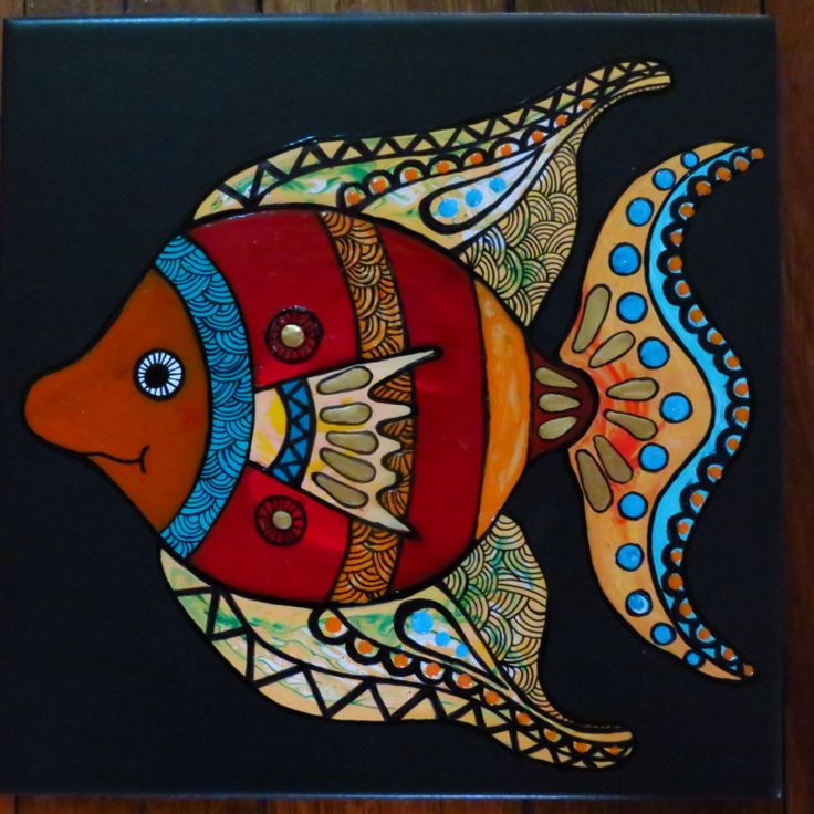 hand painted fish tile