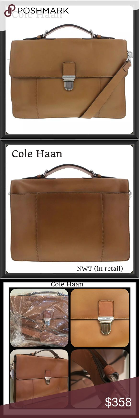 """TAN Leather Cole Haan uni-Sex Messenger BAG Cole Haan Brown Leather Large Messenger Bag (can easily be uni-sex)  Brown/Tan ALL leather!  Retail: $630.00 New w/ partial Tag (came like this) in retail packaging. Messenger w/ Cross Body optional detachable carry. Top handle also! Convertible Carry! Duel functionality! Organizational compartments  Push Lock closure!  Bag Height 10.5"""" Bag Width 15"""" Bag Depth 3 3/4"""" (expandable accordion-like bottom) Handle drop: 3"""" (both adjustable) X-body strap…"""