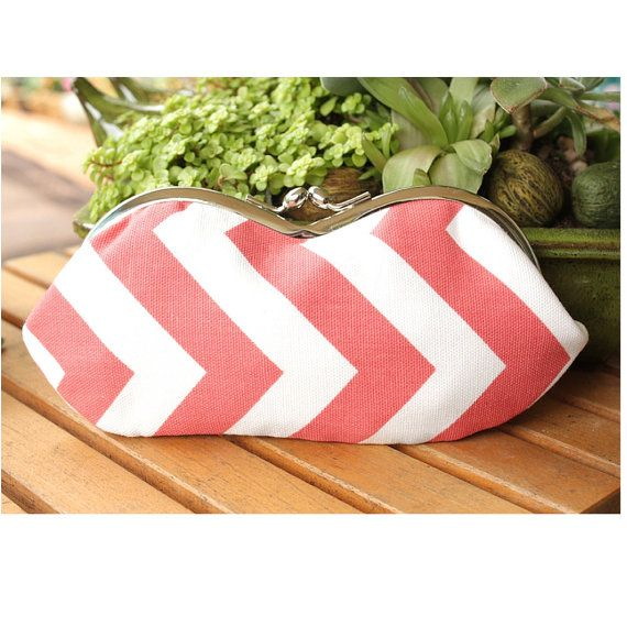 Coral Chevron Sunglasses Case - Coral and White Chevron Sunglass or Eyeglass Clutch on Etsy, $30.00