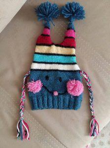 Ponpon Süslemeli Renkli Sevimli Çocuk Beresi Yapımı. 2 .3 yaş