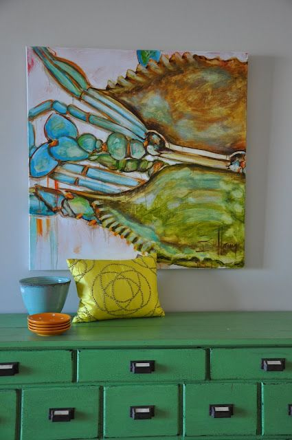 Jane Coslick Cottages - Great way to tie everything together...Paint a piece of furniture a complimentary color to a piece of artwork.