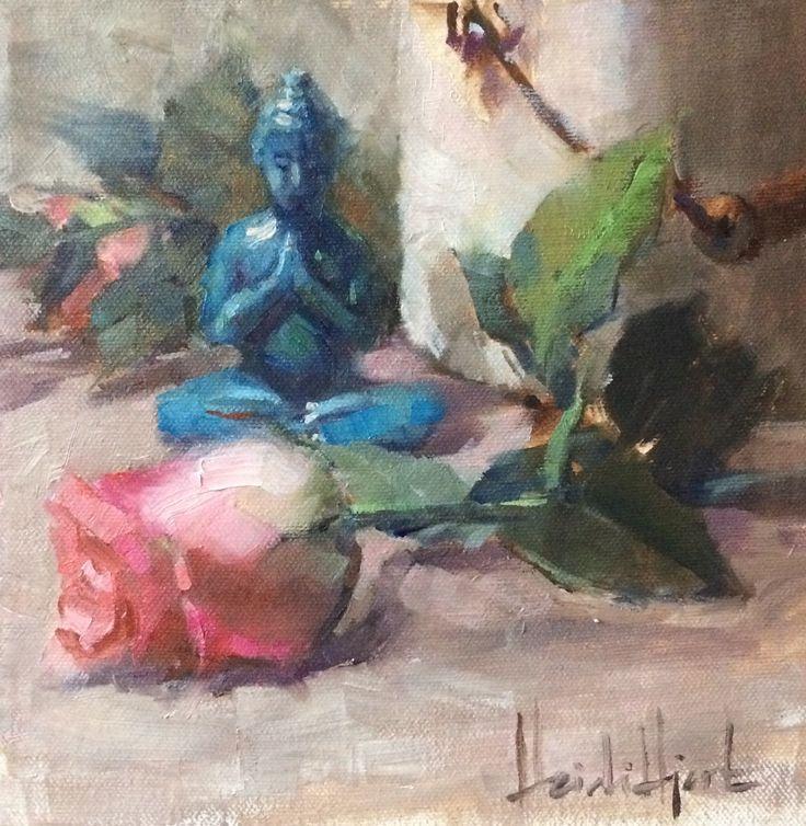 """Beauty & Wisdom"" by Heidi Hjort 2017 SOLD | heidihjort.com | buddha painting, zen, rose painting, still life painting, shabby chic decor, vintage style decor, mindfulness, oil painting, home decor, livingroom decor, bedroom decor"