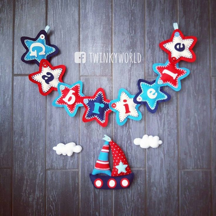 Felt garland - Baby Name - Gabriele with ship - name banner