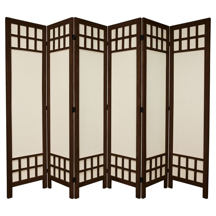5 1/2 ft. Tall Window Pane Fabric Room Divider - Burnt Brown (6 Panels)