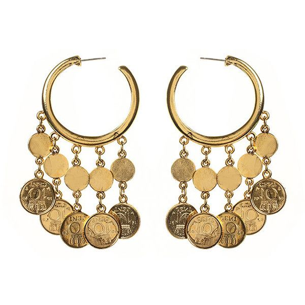 Ben Amun Moroccan Coin Chandelier Earring ($216) ❤ liked on Polyvore featuring jewelry, earrings, gold, hoop earrings, dangling jewelry, 24 karat gold earrings, long earrings and coin jewelry