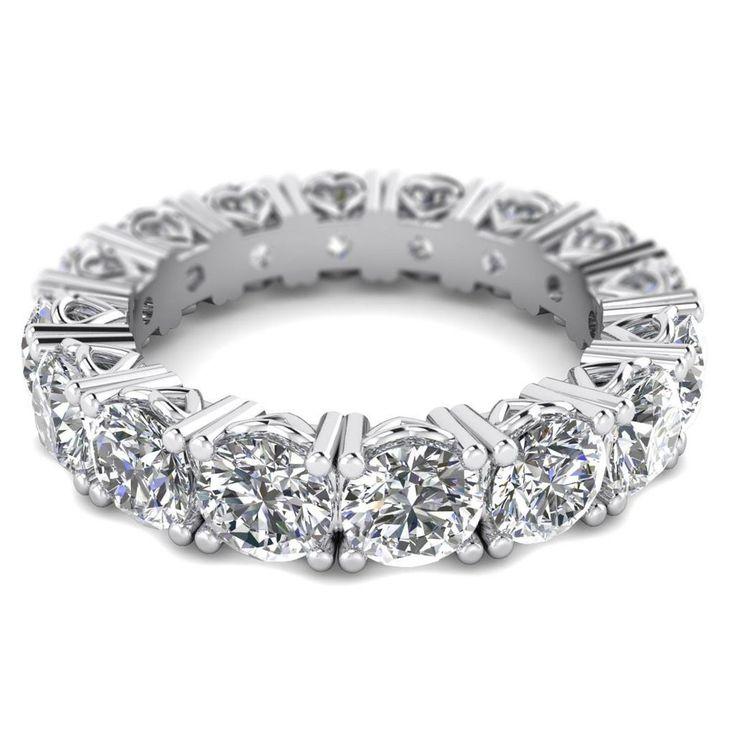 Diamond Eternity Rings 5 carat D-VS 100% Natural Full Eternity Round Diamond Ring in 14k White Gold