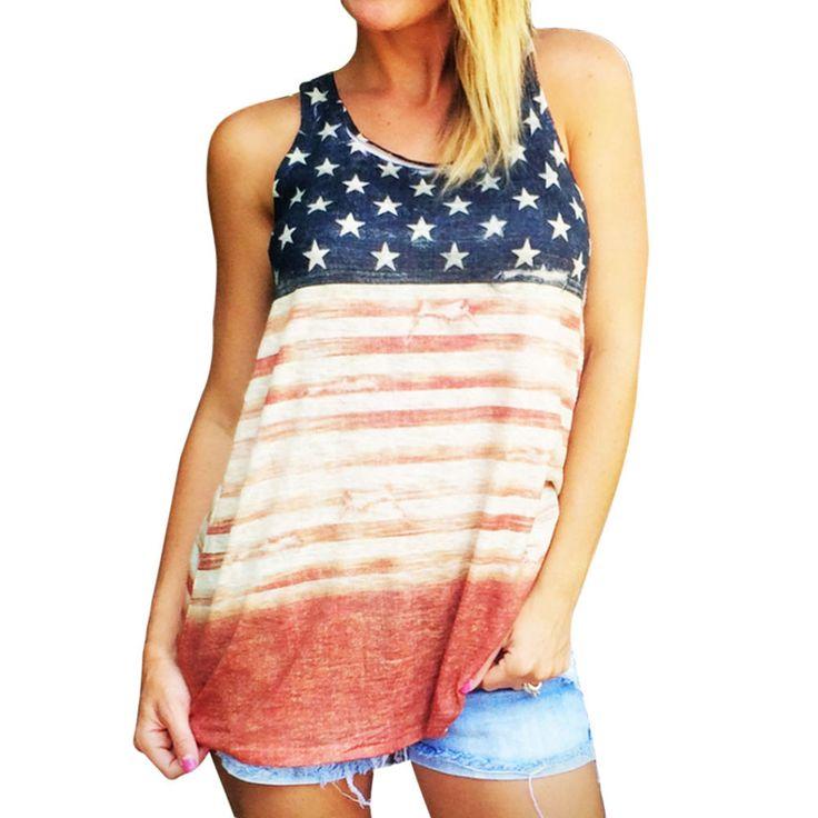 2017 O-Neck American Flag Shirt