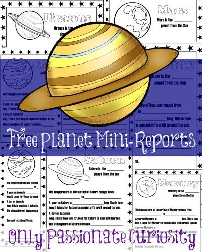 Only Passionate Curiosity has a FREE Set of Planet Mini-Reports.For each planet, your child will label which planet number they are from the sun, the temp