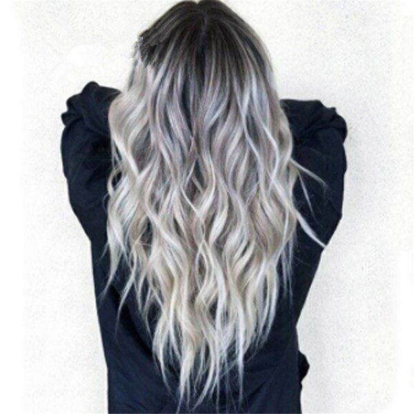 Bleaching Dyed Long Curly Hair COS Gray Gradient Female Chemical Fiber Hood