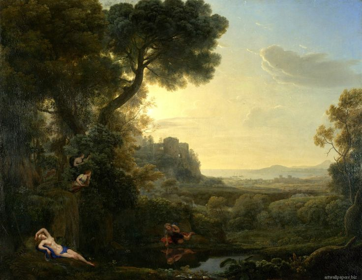 landscape narcissus and echo oil on canvas atilde  landscape narcissus and echo 1645 oil on canvas 94 5 atilde151 118 cm claude gellee paintings