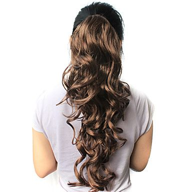 "High Quality Synthetic 21.63"" Dark Brown Curly Ponytail – USD $ 9.99"