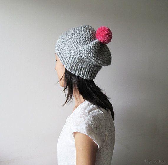 Hand Knitted Hat in Silver Grey  Beanie with Fuchsia Pom Pom