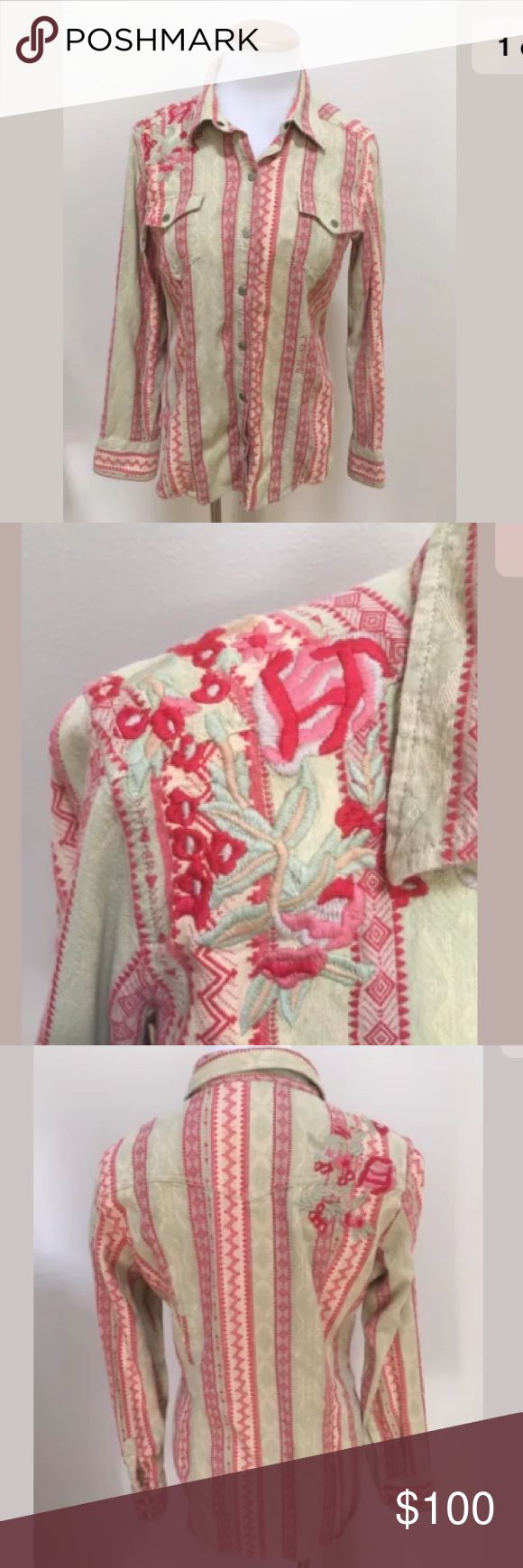 Ryan Michael Striped Embroidered Western Shirt M Ryan Michael Red Green Striped Embroidered Women's Western Shirt Blouse Medium. Excellent condition! Clean and comes from smoke free home. Questions welcomed! Ryan Michael Tops Button Down Shirts